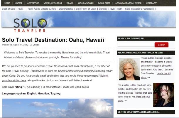 Solo Traveler: Solo Travel Destination, Oahu Hawaii