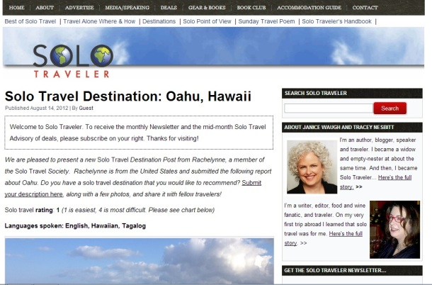 Solo Traveler: Solo Travel Destination, Oahu Hawaii