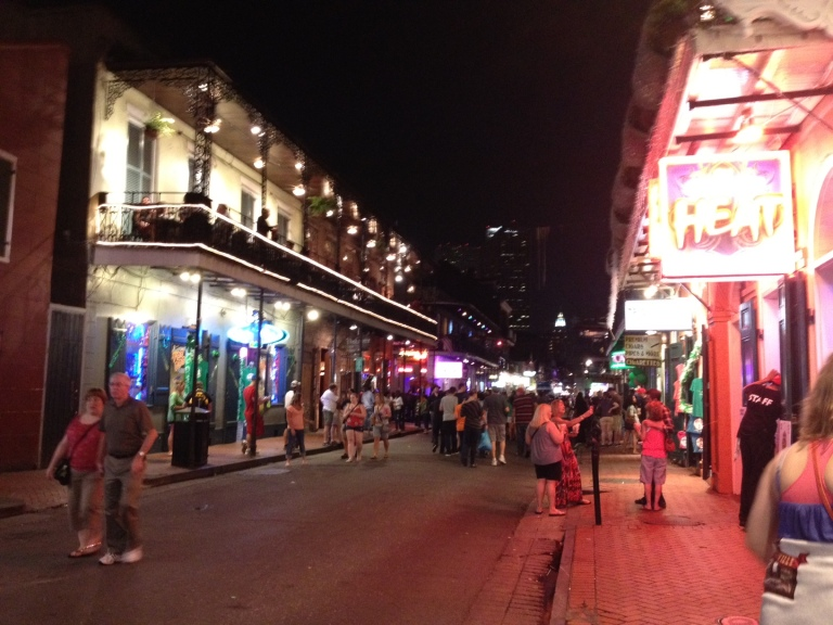 the fluorescent glow of Bourbon St., New Orleans