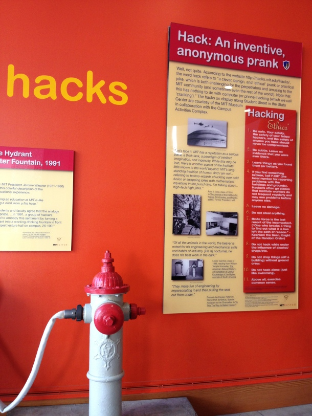 MIT's famous hacks and their code. In the black of night groups of students will pull pranks which involve elaborate designs and clever schemes. This one commemorates attaching a fire hydrant to a drinking fountain.