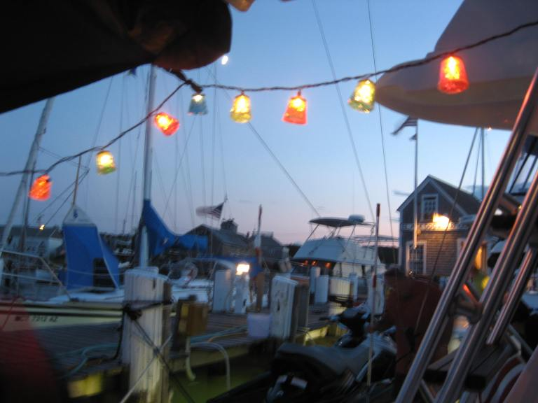 A string of lights hanging from the boom of our boat at Martha's Vineyard, 2008