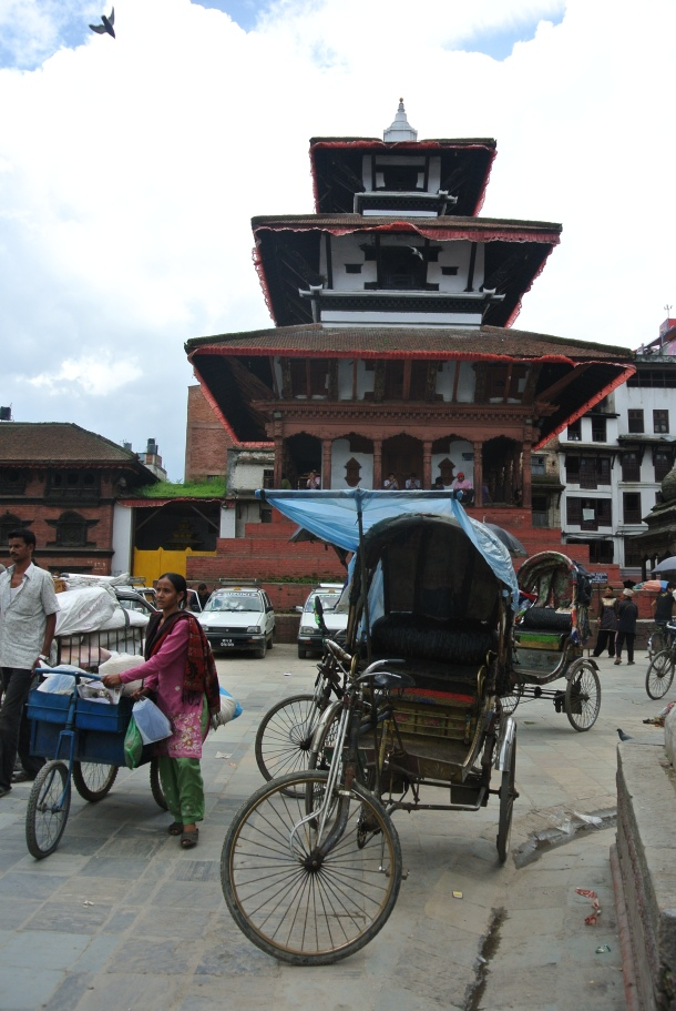 A rickshaw in the midst of Old Durbar Square.