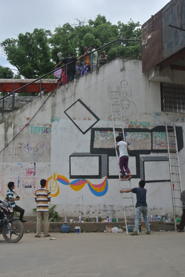 Kids graffiting in Kathmandu.