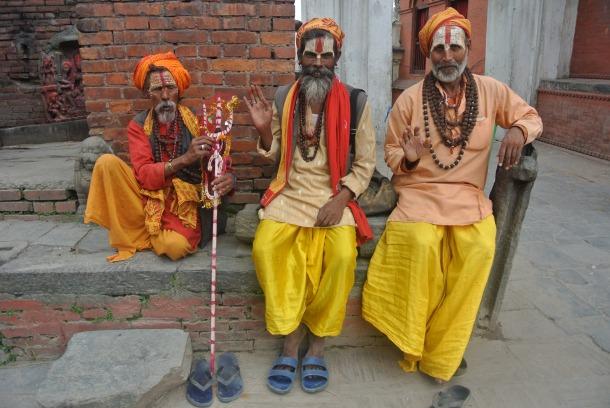 Saddus sitting by Pashupati.