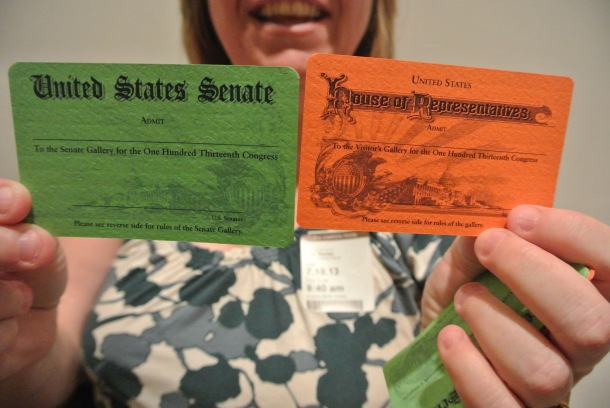 the colorful passes we picked up from the senator's office!
