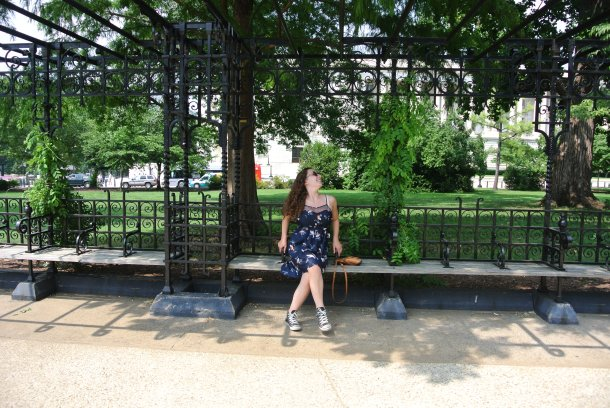 This ornate bench my sister is posing on, was also designed by Olmstead.