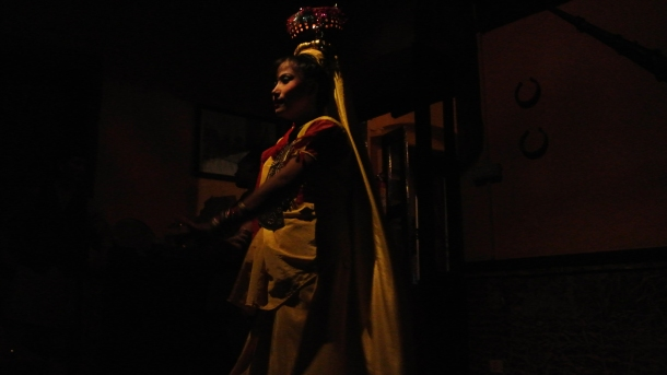traditional Nepalese dancing by candlelight (on her head!)