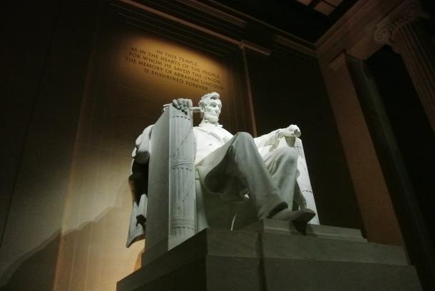 A pre-vandalism Lincoln Memorial.