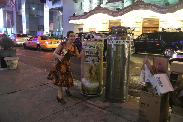 Posing with liquid nitrogen we found on the side of the street.
