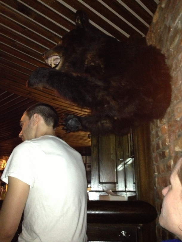 Watch out, dude! There's a bear behind you! (Sights from a NYC speakeasy...)